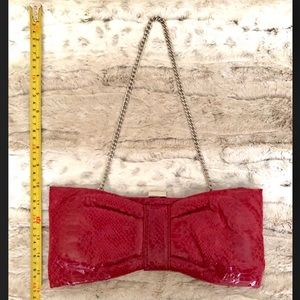 ALDO red faux snake-skin shiny clutch